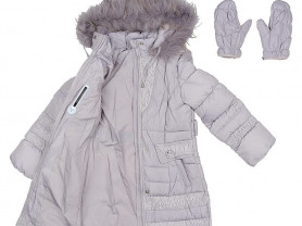 Пальто-пуховик зима+варежки для девочки 116-122 см