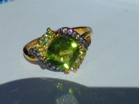 кольцо перстень серебро 925*,золото,перидот,циркон