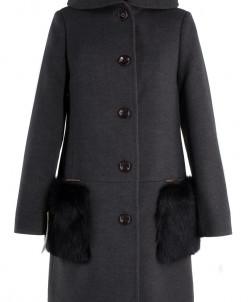 02-1324 Пальто женское утепленное Кашемир Серый