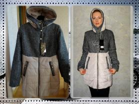 Новое осеннее комбинированное пальто 42