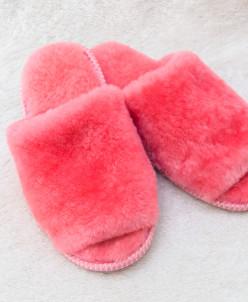 Тапочки женские открытые без бубона Розовые. 100% овчина