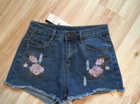 Новые джинсовые шорты с вышивкой, 42-44