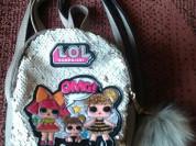 Маленький бежевый рюкзак в пайетках с lol, турция