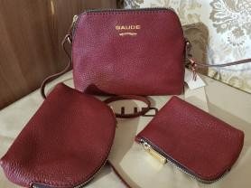 Новая кожаная сумка + 2 косметички Италия