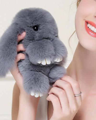 Брелок из натурального меха кролика.