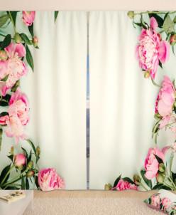 Фотошторы Окно из розовых пионов Габардин