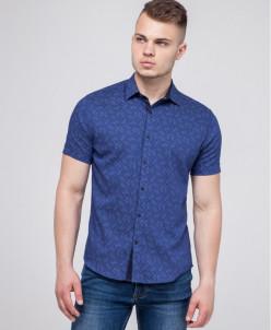 Молодежная рубашка Semco синяя в стиле casual модель