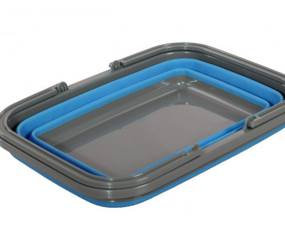 Корзина пластиковая складная с 2 ручками, синяя
