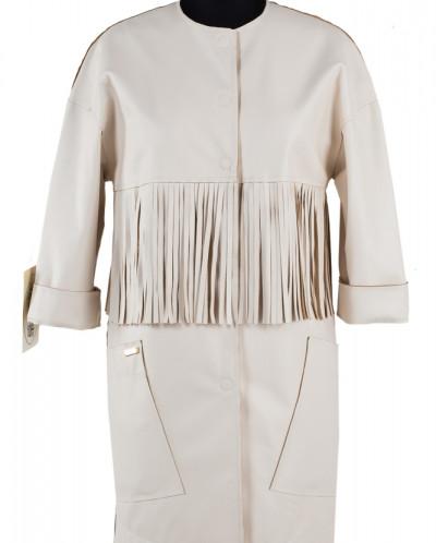 12-0088 Пальто облегченное Эко-кожа Молочный
