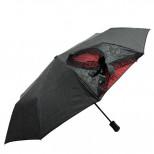 Зонт черный с красным рисунком M-361