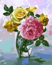 Букет с розовым пионом
