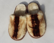 Тапочки из норки Светлые. 100% мех норки