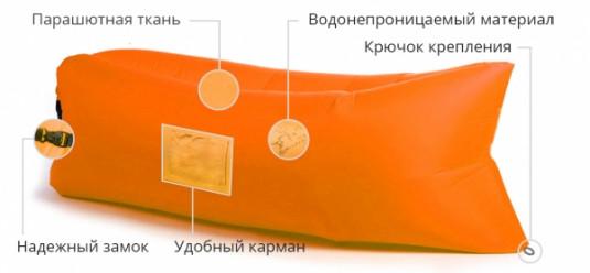 Надувной лежак Lamzac (Ламзак) с карманами ярко-оранжевый