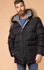 Теплый стеганный пуховик с капюшоном MR 102 1665 0819 Black