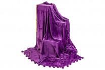 """Плед-покрывало 150*200 см """"Фиолетовый"""" + помпоны 280 г/м2"""