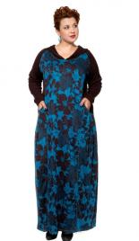 Платье Коричневое с голубым 17342