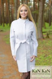 Летнее пальто из жаккарда прямой силуэт пояс  (серый)