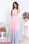 Платье розовое фонтаны ЛОДОЧКА