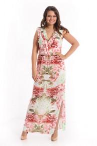 Платье 9961 принтованный штапель Пион
