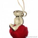 Брелок Мишка, кожаный, бежевый, на красном меховом шаре