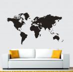 """Наклейка """"Карта мира"""" черная 60*105 см"""