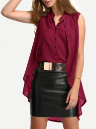 Асимметричная модная блуза оборками