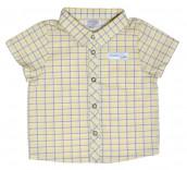 """Рубашка """"Гонки"""", желто-серая клеточка 30001-38"""