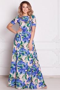 Платье Виктория цветы на розовом (П-27-5)