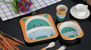 Набор детской посуды 5 шт. Гиппопотам