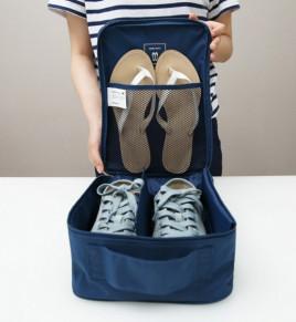 Дорожный чехол для 2 пар обуви Синий