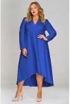 Платье креп с асимметричным низом и воротником стойка, васил