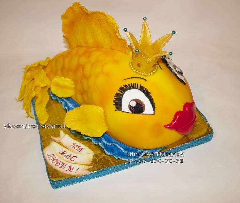 Торт с золотой рыбкой мастер класс