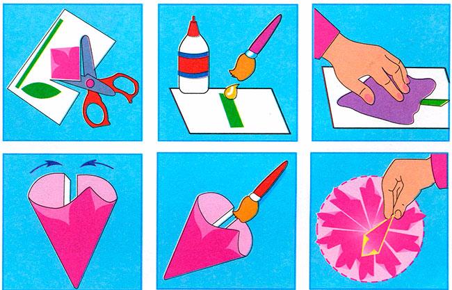 Поделки цветы из бумаги с клеем для детей 5-6 лет своими руками