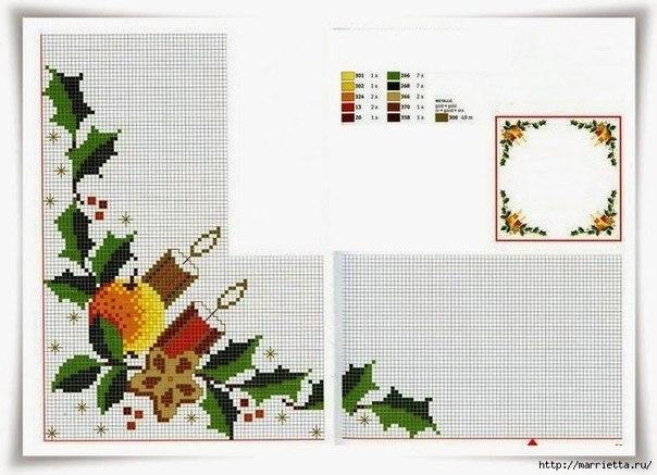 Схемы для вышивки крестом новогодние на скатерти 890