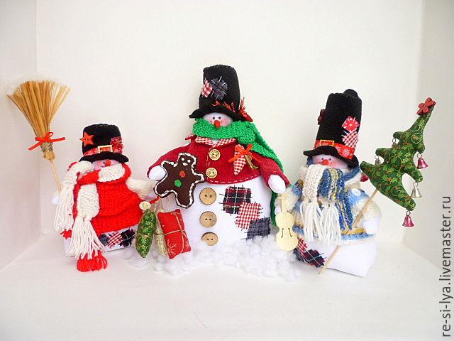 Новогодняя композиция. Забавные снеговики. Мастер класс с пошаговым фото