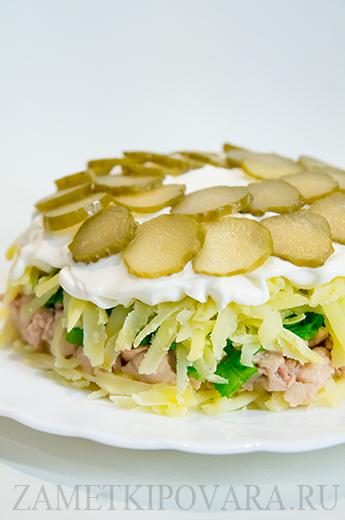 Салат с печенью трески и соленым огурцом рецепты с