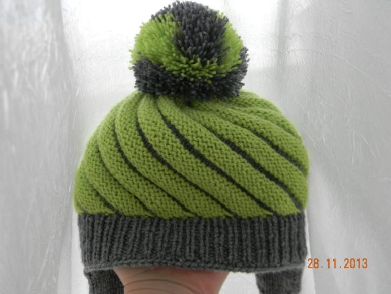 Вязание шапок спицами по диагонали 31