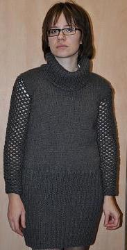 Платье зимнее крючком и спицами