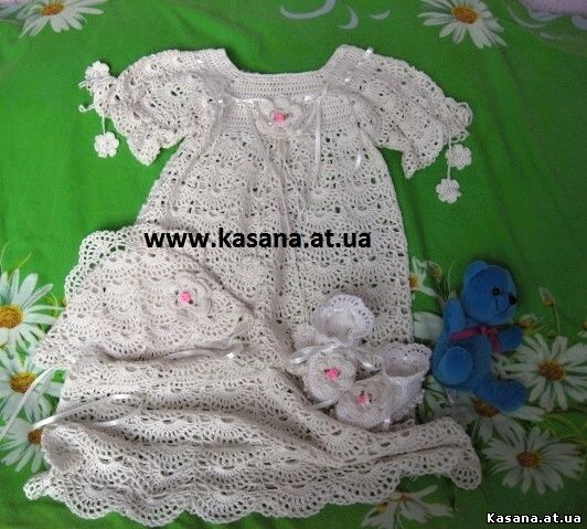 Крестильное платье , крестильный набор для девочки крючком!