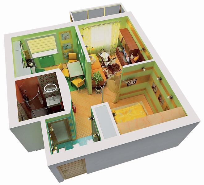 Дизайн проект 1 комнатной квартиры 35 кв.м