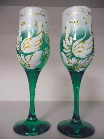 Свадебные бокалы просто яркие и для украшения цветами по 250 руб пара
