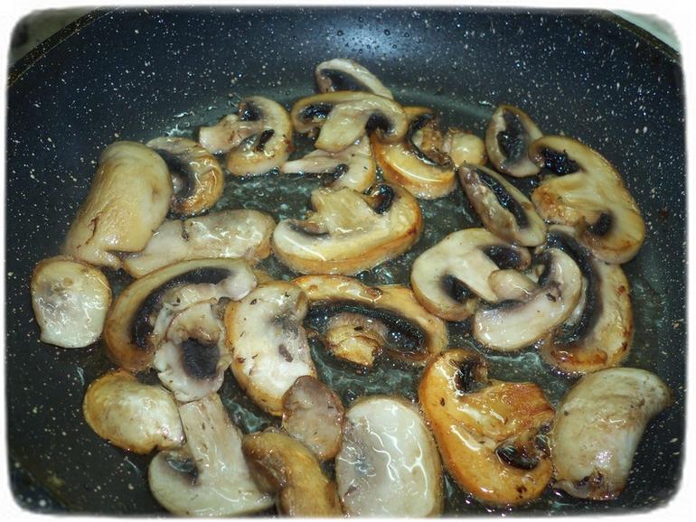 Рис с грибами и спаржевой фасолью.