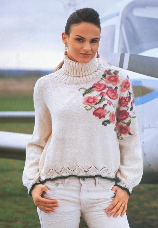 Белый Пуловер С Цветком С Доставкой
