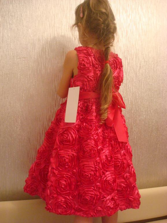 Платье красное в крупных розетках 5