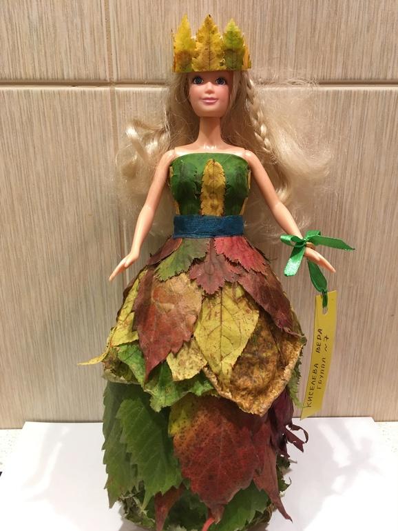 Осенние поделки кукла с листьями 48
