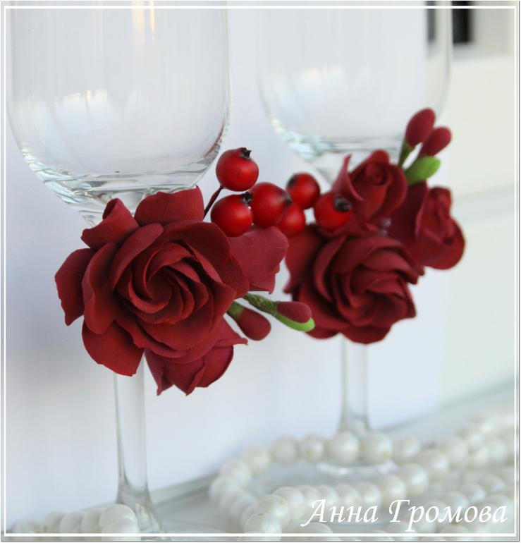 Бокалы на свадьбу в бордовом цвете