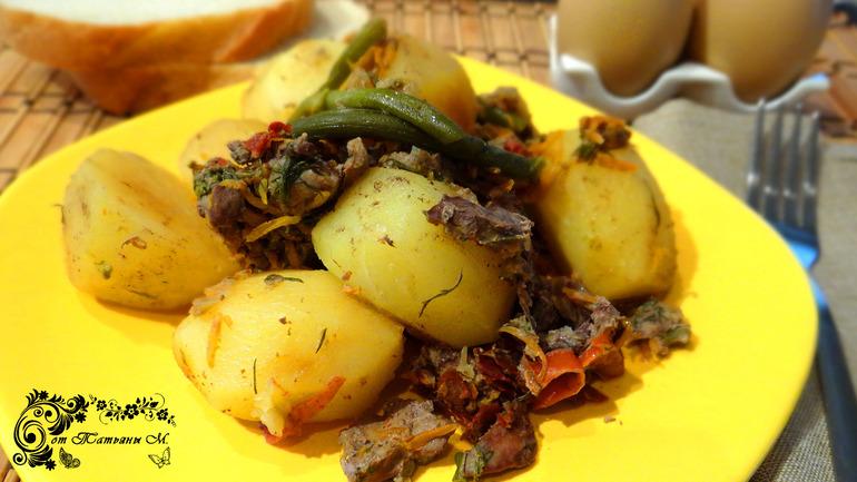 Тушеный картофель с печенью (мультиварка)