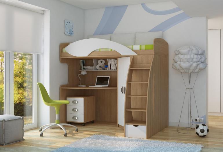 Кровать чердак с рабочей зоной для подростка б/у