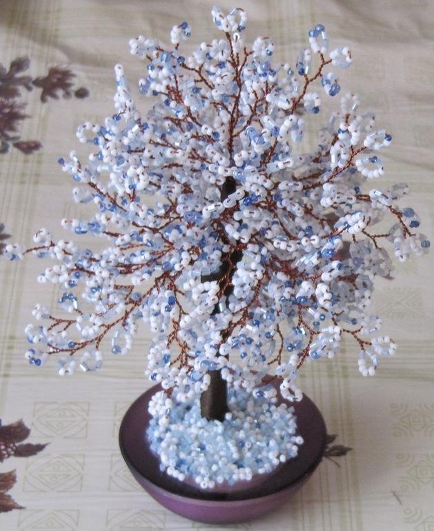Зимние дерево из бисера своими руками