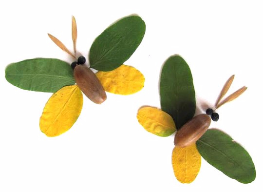 Поделка сова из листьев